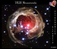 Anche le stelle giocano con l'eco. In quest'immagine la stella al centro è V838 Monocerontis, ed è una nova, cioè una stella che è esplosa in particolari condizioni. Il flash luminoso prodotto a seguito dell'esplosione ha viaggiato nello spazio, illuminando il materiale rigettato dalla stella stessa in un epoca precedente. Attorno alla stella centrale, quindi, vediamo di fatto l'eco della sua esplosione. (Credit: NASA and The Hubble Heritage Team (AURA/STScI))